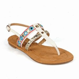 Dolly-02 Tribal Women's T-strap Flat Sandals